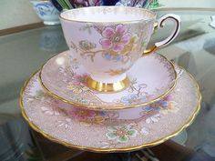 Lovely Vintage Tuscan China Trio Tea Cup Saucer Side Plate Pink Gilded