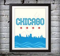 Chicago, Chicago Skyline, Chicago Print, Chicago Poster - 11x14. $16.00, via Etsy.
