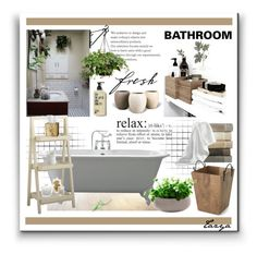 """""""Natural Bathroom"""" by tazyaa ❤ liked on Polyvore featuring interior, interiors, interior design, home, home decor, interior decorating, Peacock Alley, Pier 1 Imports, Selamat Designs and Crate and Barrel"""