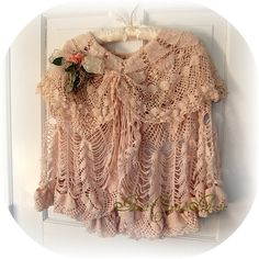 Natural Kei Lace Cape Tea Stained Vintage Old by auntcarriesattic, $125.00