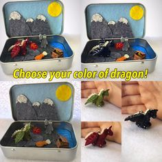Miniature dragon in a tin playset, plush dragon, softie dragon, felt dragon https://www.etsy.com/listing/238662887/miniature-dragon-in-a-tin-play-set-itty