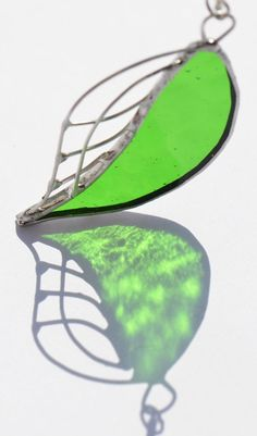 Green leaf pendant stained glass jewelry glass by OrioleStudio