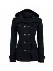 Black Fur Collar Woth Thick Woollen-coat | fashionmia.com