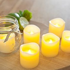 Divine LEDs Flickering Romantic Battery Powered Flameless Candles, Set of 6, Yellow Divine LEDs