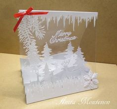 a bit of red lost in the snow by snietje - Cards and Paper Crafts at Splitcoaststampers - Ribbon On Christmas Tree, Christmas Card Crafts, Christmas Tree Design, Christmas Cards To Make, Xmas Cards, Christmas Greetings, Handmade Christmas, Acetate Cards, Winter Karten
