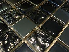 mosaikfliesen glas perlmutt effekt 20x20x4mm schwarz tapeten und wandgestaltungen pinterest - Schwarzweimosaikfliese Backsplash
