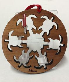 Hawaiian Koa wood Honu cutout round Christmas ornament crafted by an artist from the Hawaiian Islands.