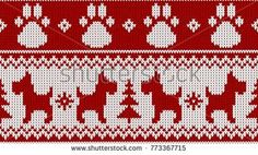 Seamless knitted dog, christmas tree and dog's paw 2018 happy new year pattern red white vector illustration