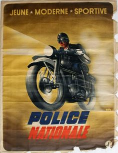 1940 French propaganda poster for the police force: Police Nationale Jeune Modern Sportive. Issued by the Secretariat Generale de l'information in Nazi occupied France during World War Two