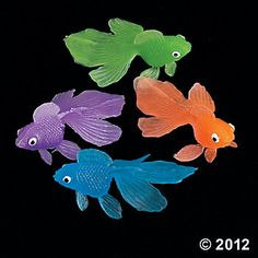 Colorful Goldfish - you could fill small fish bowls with water & add one or two of these plastic fish inside, fun table centerpiece & conversation starter.