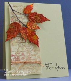 Hi everyone. I love this time of year with the autumn leaves falling from the trees - so...