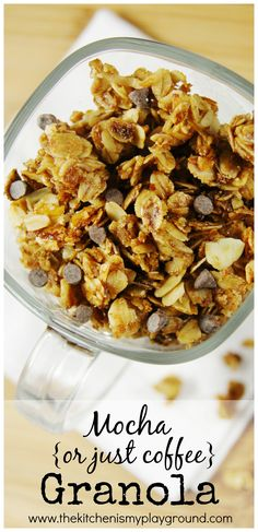Mocha {or Just Coffee} Granola ~ delicious for breakfast or snacking! www.thekitchenismyplayground.com