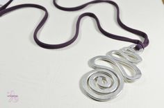 Aluminium pendant with a long cotton webbing SPIRAL by Violanima