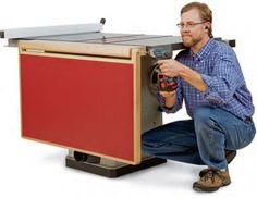 a Folding Outfeed Table to Mount on Your Table Saw Stand Mounting the fold down outfeed table onto the table saw stand.Mounting the fold down outfeed table onto the table saw stand.