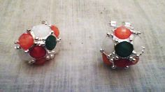 Colorful Faceted Crystal Earrings Silver with flip - guard backs VERY UNIQUE !! #ZenfinityDesigns #Cluster