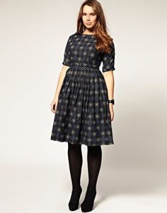 Super interesting print on this plus sized dress from ASOS. Full skirt.