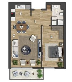 House Plans with 2 bedrooms - Beton Market Apartment Floor Plans, Bedroom Floor Plans, Studio Floor Plans, House Floor Plans, Studio Apartment Layout, Apartment Design, Tiny House Cabin, Tiny House Design, Espace Design