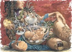This painting by Canadian artist, Heidi Taillefer, offers the viewer a sumptuous depiction of the pregnant body's internal world. Rich images of fruit and flowers fill the woman's form, while her baby is nourished within a floating sac of clear water. Her full breasts are glorious machines that produce and pump milk through an intricate system of faucets and tubing. Like a cross between a Duch still life painting and a Surrealist masterwork, Taillefer's composition is lavis