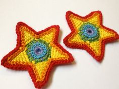 Rainbow Star Crochet Appliques  Set of Two by HandmadeMichelle, $4.00