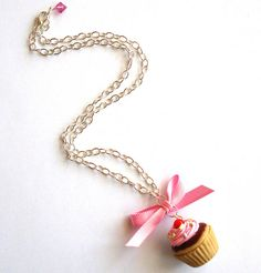 polymer clay cupcake necklace by FatallyFeminine's