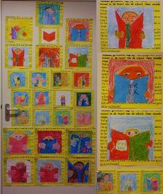 Ik lees. N.a.v. de kinderboeken week okt. 2013. Opdracht voor groep 3 en 4 in verf, krijt en kleurpotlood.