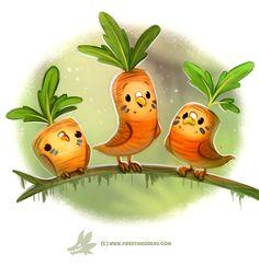 Cute Food Drawings, Cute Animal Drawings Kawaii, Kawaii Drawings, Cute Fantasy Creatures, Cute Creatures, Chibi, Illustration Art, Illustrations, Animal Puns