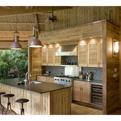 Bamboo Furniture Design Ideas With Custom Sets for Tropical Kitchen Tropical Kitchen, Tropical Decor, Tropical Design, Tropical Style, Tropical Paradise, Küchen Design, House Design, Design Ideas, Kitchen Shutters