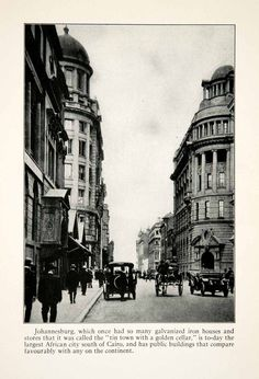 1924 Print Johannesburg South Africa Cityscape Historic Automobile Street We Africa :) Come and Volunteer with us! Old Pictures, Old Photos, Johannesburg City, Historical Pictures, African History, The Good Old Days, Live, Worlds Largest, History