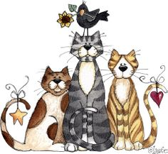 Three cats and a bird Cartoon Cartoon, I Love Cats, Cool Cats, Cat Embroidery, Gatos Cat, Posca Art, Image Chat, Cat Quilt, Pintura Country