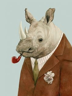 Rhino 8x10 archival art print by animalcrew on Etsy  Large Giclee  rhinoceros in suit smoking pipe  February 2015