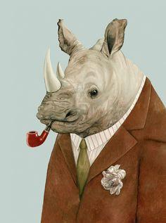 Rhino 8x10 archival art print by animalcrew on Etsy
