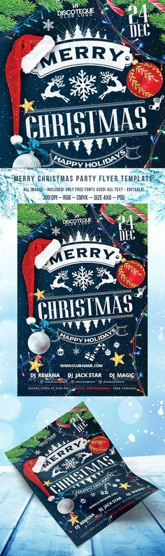 Christmas Party Flyer Template PSD #design Download: http://graphicriver.net/item/christmas-party-flyer/13600500?ref=ksioks