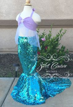 Little Mermaid Outfit Sequin mermaid skirt and by ZulettCouture
