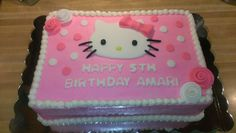 Hello Kitty Sheet cake, decorated with buttercream and fondant decorations.