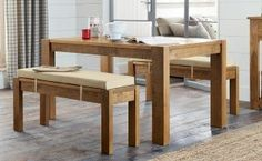 Bench Set for entertaining from Next Dining Room Furniture, Dining Bench, Bench Set, Solid Pine, My House, Table, Easter, Entertaining, Chic