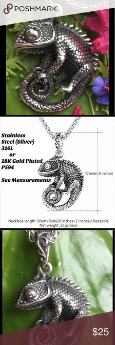 "STAINLESS STEEL CHAMELEON LIZARD 20"" + 2 "" EXTEND He or She is ADORABLE! Stainless steel, silver tone Pendant featuring this charismatic little lizard.  So life-like with amazing detail. Pendant measures 1.8 inches, link chain measures 20 inches with a 2 inch extender. Nice quality. Common sense care required to insure maintaining beauty and detail. Stainless steel base. Includes cloth pouch for storage. Brand new in plastic wrap with bar code. Price Firm.*****This can be wrapped around…"
