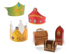 Three Kings School Nativity Play Card Prop Set - Crowns & Gifts | the littlecraftybugs company
