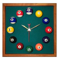 Billiard Square Wall Clock #pool #cue #man  #mancave #sports #hobby #guys #boys #manly #weekend #party