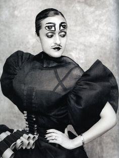 Designer, Isabel Toledo photographed by Ruven Afanador. Head illustration by Ruben :)
