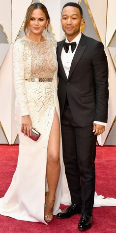 See All the Celebrity Looks from the 2017 Academy Awards Red Carpet - Chrissy Teigen and John Legend  from InStyle.com