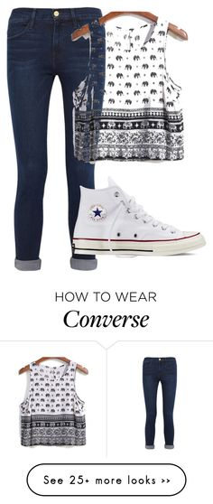 """Untitled #282"" by elizabethannee on Polyvore featuring moda, Frame Denim y Converse"