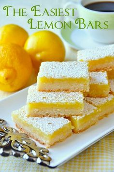 Super Easy Lemon Bars – made with only 5 simple ingredients! Using only 5 simple ingredients & a very quick preparation time, this is the easiest & best lemon bars recipe I've ever tried in almost 40 years of baking. Easy Desserts, Delicious Desserts, Yummy Food, Finger Food Desserts, Oreo Desserts, Best Lemon Bars, Lemon Cake Bars, Vegan Lemon Bars, Dessert Bars