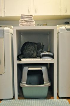 If you have a small home AND cats, then you probably keep the cat food and litter box in your laundry room. That can take up a lot of valuable space, SO stack up that food and litter box on a shelf. Found on Southern Sprout.