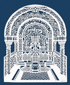 Jerusalem Synagogue Interior Mizrach. Artist: David Fisher. Laser-Cut Paper, Jewish & Israeli Art | Judaica Web Store