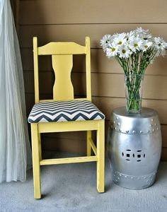 yellow gray chevron chair by RelovedRetro on Etsy. Could be a fun DIY project. Painted Chairs, Painted Furniture, Home Furniture, Refinished Furniture, Rocking Chair Bois, Funky Chairs, Cute Cottage, Yellow Interior, Gray Chevron