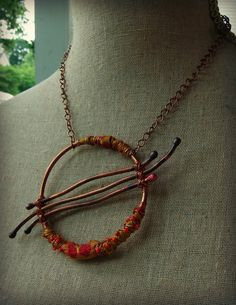 adapt for wooly wire Moobie Grace - Bohemian Necklace - Circle - Tribal - Statement Necklace - Hand Forged Copper - Sari Silk