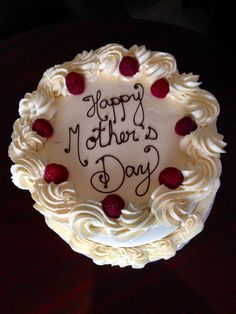 Beautiful yet simple Mother's Day Cake - Red Velvet with raspberry cream cheese filling.