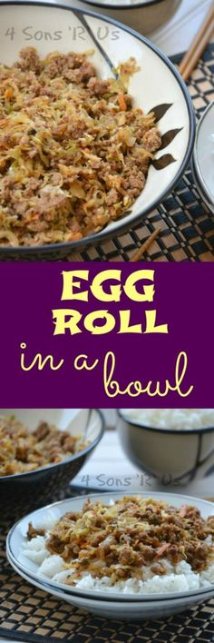 With seasoned pork, caramelized cabbage and carrots-- this yummy Egg Roll Bowl is everything you love in your favorite Asian appetizer, without all the work and none of the grease.