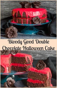 A Delicious, Decadent, Easy Double Chocolate Halloween Cake, Chocolate Butter Cream filling and Ganache makes this cake the Ultimate Dessert. via @https://it.pinterest.com/Italianinkitchn/