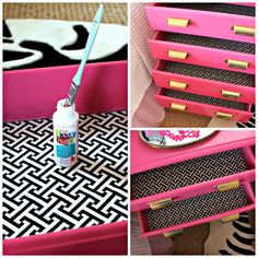 line the inside of a dresser, night stand, or desk with fabric!...do it on the hallway storage